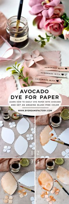 How to make avocado dye for paper – learn how to naturally dye paper with avocado and get an amazing blush pink color! The dyed paper can be used for many of your DIY creative projects! paper dye How to make Avocado Dye for Paper - Dreams Factory Pink Paper, Colored Paper, Natural Dye Fabric, Natural Dyeing, Pink Dye, Pink Color, Colour, Paper Art, Paper Crafts