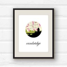 Cambridge, Massachusetts - Harvard - city skyline map - Cambridge map - Massachusetts print
