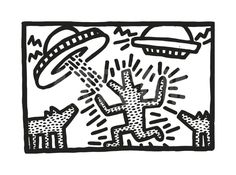 Untitled, 1982 (dogs with UFOs) Giclee Print by Keith Haring at Art.com