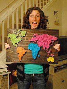Diy-string-art-world-maps