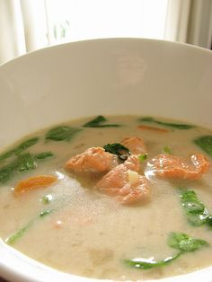 Coconut milk, ginger, lemongrass and salmon soup recipe