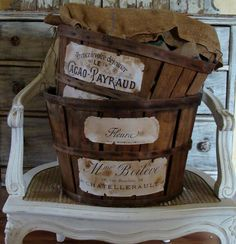 <3 wkz *** Vintage Wooden Fruit Baskets of Burlap With DIY Aged French-Like Labels Dipped in Water & Sprinkled With Instant Tea