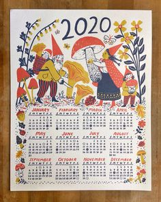 Apparel, accessories, prints & home goods designed & illustrated by Phoebe Wahl Art Calendar, Calendar Design, Creative Calendar, Baby Posters, Letterpress, Screen Printing, Harvest, Fairy Tales, Whimsical