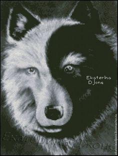 """Купить Авторская схема вышивки крестом """"Волк-2013"""" - серый, схема для вышивки, схема"""