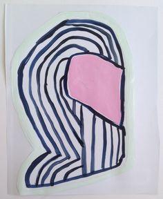"Ninja Tagger: Seeing Pink, acrylic on paper, 9""x11"", 2014.  Sarah Boyts Yoder"