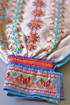Lower sleeve of a Ukrainian 'sorochka', or shirt, that I designed and embroidered in a style with motifs and patterns inspired by the traditional shirts and blouses from Serafyntsi village of Horodenka region in Carpathian Western Ukraine (Designed, embroidered, and assembled by Dave Melnychuk)