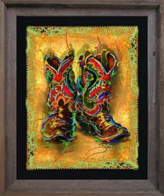 Old West Memorabilia Cowboy Boots Art Print Poster Framed Art Print Black Framed Art, Framed Wall Art, Framed Art Prints, Poster Prints, Cowboy Art, Cowboy And Cowgirl, Cowboy Boots, Cowboy Pics, Western Boots