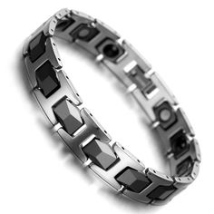 Mens Women Tungsten Ceramic Magnetic Therapy Health Link Bracelet for Arthritis Bracelets With Meaning, Link Bracelets, Bracelets For Men, Beaded Bracelets, Bangles, Necklaces, Gents Bracelet, Tungsten Bracelet, Unique Gifts For Men