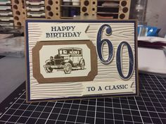 Masculine birthday card. Stampin' Up! Wood grain emboss with guy greetings and number of years. Night of navy and soft suede theme