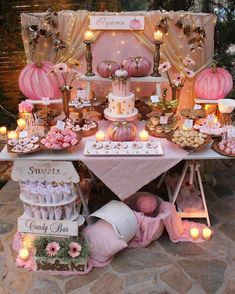 40 trendy fall birthday party for girls Fall First Birthday, Pumpkin First Birthday, 1st Birthday Party For Girls, Fall Birthday Decorations, Baby Birthday Themes, Birthday Candy Bar, Party Themes For Kids, 1st Birthday Party Ideas For Girls, Shabby Chic Birthday Party Ideas