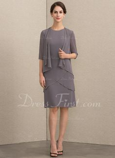 42b0a8a07a9 A-Line Scoop Neck Knee-Length Chiffon Mother of the Bride Dress With Sequins