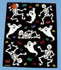 VINTAGE AMSCAN HALLOWEEN 17 STICKERS 1 SHEET GHOSTS,SKELETONS,EYES