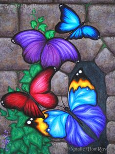 Items similar to ORIGINAL Fantasy Butterfly Wings Ivy Vine Stone Castle Wall Window Acrylic Painting Whimsical Bug Insect Garden Art Natalie VonRaven on Etsy Fantasy Kunst, Beautiful Butterflies, Painting Inspiration, Painting & Drawing, Wall Drawing, Painted Rocks, Art Drawings, Illustrator, Art Projects