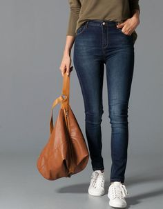 Stradivarius Denim skinny super high