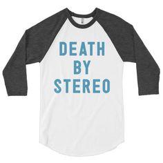 Death By Stereo baseball t-shirt. Shh! Santa Clara is crawling with vampires.