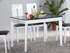 "Athome DT6016 Dining Table White - The wooden dining table. Sliding white table  with clear glass top. It fits into any modern interior. Dimensions: 71"" x 31.5"" x 30""."