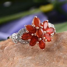 Jalisco Fire Opal Ring in 14K Rose Gold Overlay Sterling Silver (Nickel Free)