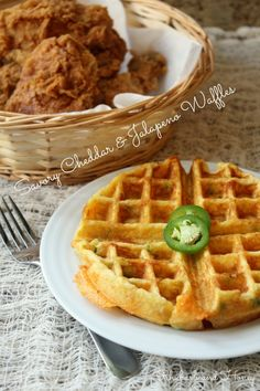 In which I put a savory spin on one of my all-time favorite breakfast items -- the waffle -- and create finger-lickin' good cheddar and jalapeno waffles! Cornmeal Waffles, Cheese Waffles, Savory Waffles, Blue Cornmeal, Pancakes, Breakfast Recipes, Breakfast Items, Mexican Breakfast, Pancake Recipes