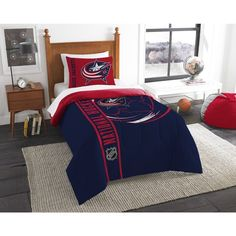 Twin NHL Columbus Blue Jackets Hockey Team Comforter Blue Red Silver White Sports Pattern Bedding Printed Team Logo NHL Merchandise Team Spirit Ice