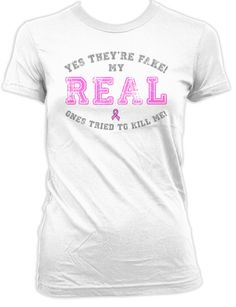 8ffe9359 Funny Breast Cancer Shirt Cancer Survivor Gift Ideas For Her Cancer  Awareness T Shirt My Real