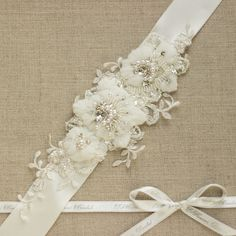 Ivory Wedding Belt Bridal Lace Sash Fl