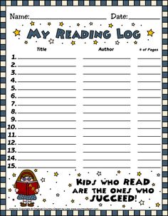 Book it reading log printable