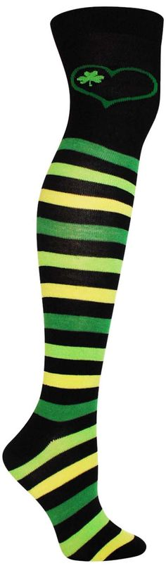 Add some serious fun to your outfit on St. Patrick's Day with these crazy over the knee socks with bright stripes and a cute shamrock and heart. Over the Knee length - Fits women's shoe size 4-10. - C