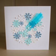 Handmade Blank Card Blue and White Bouquet by PaperSoupCards