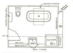 Cool Small Bathroom Floor Plans With Shower Area Near Custom