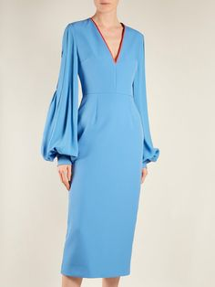 Click here to buy Roksanda Essi balloon-sleeve crepe-satin dress at MATCHESFASHION.COM