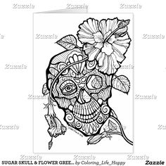 SUGAR SKULL & FLOWER GREETING, NOTE & GIANT CARDS