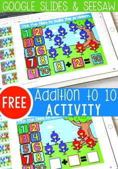 Free addition to 10 kindergarten math activity. Build addition fluency with this fun addition to 10 Addition Activities, Kindergarten Math Activities, Math Addition, Fun Math, Fun Activities, Preschool, Google Classroom, Math Classroom, Subtraction Kindergarten