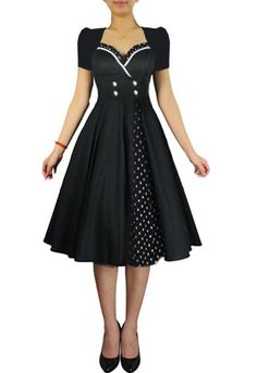 Rockabilly Dress- I like the polka dot fabric peeking out from underneath. 50s Dresses, Vintage Dresses, Vintage Outfits, Fashion Dresses, Rockabilly Dresses, Fashion Mode, 1950s Fashion, Vintage Fashion, Pretty Outfits