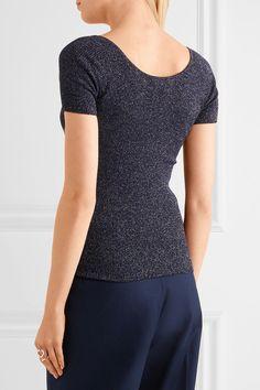 Max Mara - Ribbed Metallic Wool-blend Sweater - Navy - medium