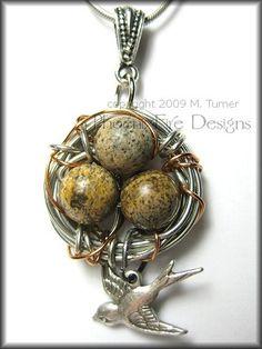 Pendant, bird's nest with bird - nature inspired jewelry