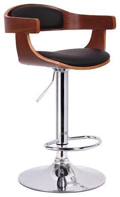 Garr Bar Stool, Walnut and Black contemporary-bar-stools-and-counter-stools