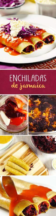 Si eres vegetariano o vegano, esta receta de enchiladas de jamaica con salsa roja serán tus favoritas. Son ideales para el #lunesincarne o para utilizar las flores del agua de jamaica que preparaste.