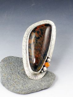 Cheetah Stone and Spiny Oyster Shell Ring by MicheleGradyDesigns