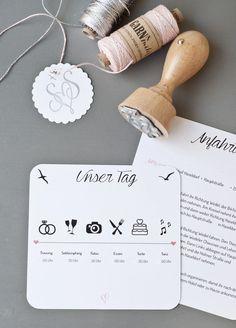 Unsere Hochzeitseinladungen mit Ablaufplan und vielen Infos im Pocketfold | Serendipity