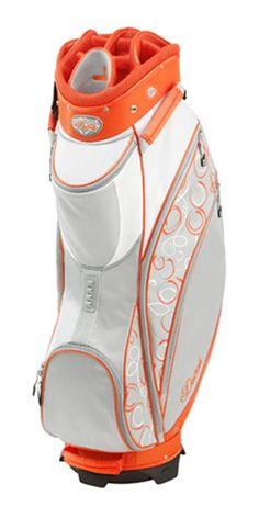 Finally, a fashion forward cart bag with plenty of features while staying ultra lightweight. Datrek Ladies D-Lite Cart Golf Bag - Tangerine & Silver #Sports #Ladies #Fashion #Bags #Accessories #Golf #White #Orange