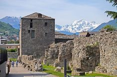 Ancient Roman wall in Aosta, Italy