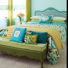 light teal wall, yellow accents?