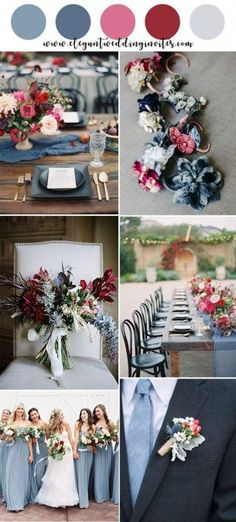 dusty blue, fuchsia pink and cranberry summer wedding colors wedding colors blue Top 10 Gorgeous Blue Wedding Color Combos for 2019 Wedding Color Combinations, Wedding Color Schemes, Color Combos, Wedding Centerpieces, Wedding Table, Wedding Ideas, Wedding Bouquets, Dress Wedding, Wedding Favors