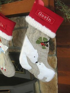 Christmas Stocking with Personalized Monogram by BenLovesBirdy, $28.50