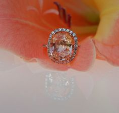 3.9ct cushion Peach sapphire Champagne sapphire ring diamond ring 14k rose gold Engagement ring. $4,500.00, via Etsy.