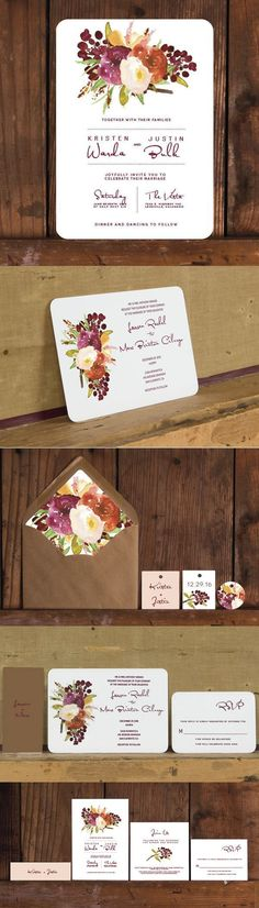Love the deep reds and blush colors on this rustic wedding invitation.  The big question is which layout do you like best? #weddinginvitation