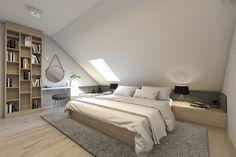 Schlafzimmer von bagua pracownia architektury wnętrz Here are some photos of interior design ideas. Attic Bedroom Small, Attic Bedroom Designs, Attic Bedrooms, Attic Spaces, Attic Bathroom, Attic Design, Bedroom Styles, Loft Room, Bedroom Loft