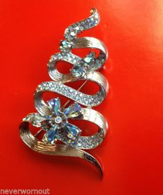 Vintage Signed Schiaparelli Christmas Tree Shape Super Sparly Pin