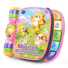 Explore classic nursery rhymes with the Musical Rhymes Book by VTech. Your little one will build motor skills by sliding and twisting the fun play pieces while exploring each easy-to-turn page. Then t...