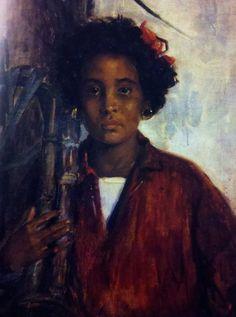 Leopoldo Romañach (Cuban, 1862-1951)  La niña de las cañas (Girl and the Sugar Cane)